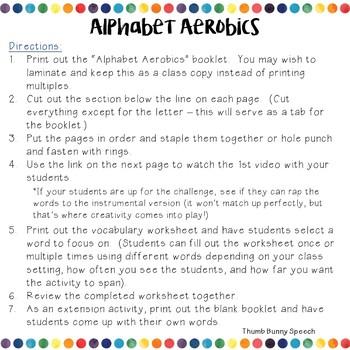 Alphabet Aerobics - Vocabulary Words for Older Students