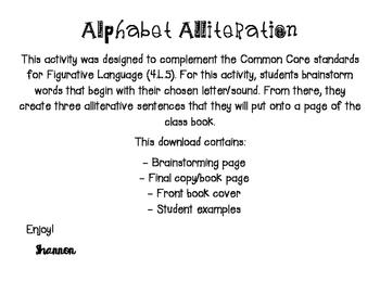 Alphabet Alliteration activity