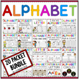 Alphabet Worksheets A-Z Worksheets Bundle - Letter Sound and Letter Recognition