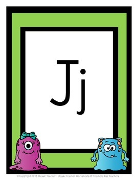 Alphabet - Alphabet Posters - Blue and Pink Monster Clip Art