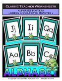 Alphabet - Alphabet Posters - Green Googly-Eyed Monster Clip Art