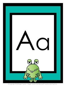 Alphabet - Alphabet Posters - Green Googly-Eyed Monster Clip Art