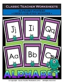 Alphabet - Alphabet Posters - Green One-Eyed Monster Clip Art
