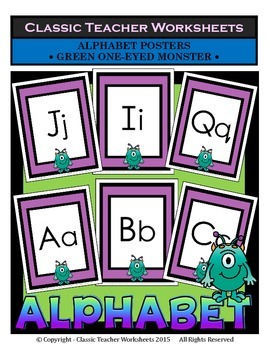 Alphabet - Alphabet Posters - Green One-Eyed Monster Clip Art