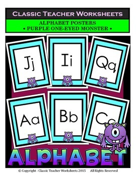 Alphabet - Alphabet Posters - Purple One-Eyed Monster Clip Art