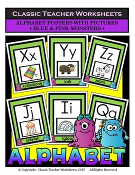 Alphabet - Alphabet Posters With Pictures - Blue and Pink Monster Clip Art