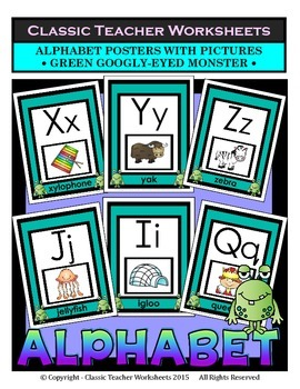 Alphabet - Alphabet Posters With Pictures - Green Googly -