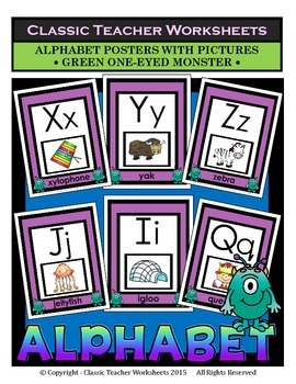 Alphabet - Alphabet Posters With Pictures - Green One-Eyed Monster Clip Art