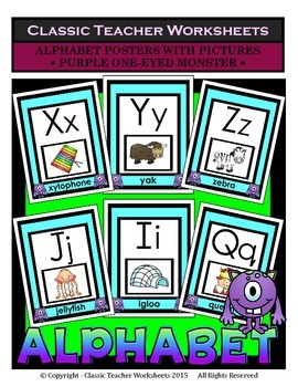 Alphabet - Alphabet Posters With Pictures - Purple One-Eye