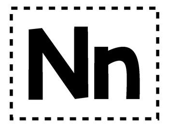 Alphabet Anchor Chart Pieces - Letter N - Blackline
