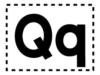 Alphabet Anchor Chart Pieces - Letter Q - Blackline