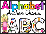 Alphabet Anchor Charts - Uppercase & Lowercase - w/ beginning sound pictures