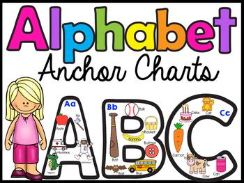 Alphabet Anchor Charts - Uppercase & Lowercase - w/ beginn