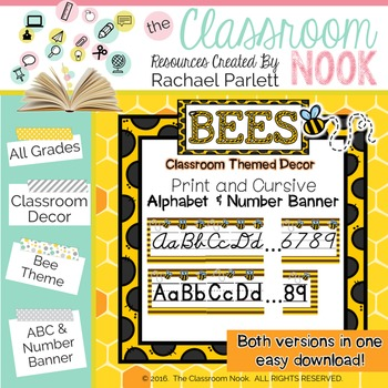 Bee Theme: Alphabet And Number Classroom Banner