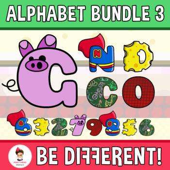 Alphabet And Numbers Clipart (Bundle 3)