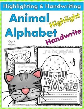 Alphabet Animal Find, Highlight, & Write! (26 Alphabet Pri