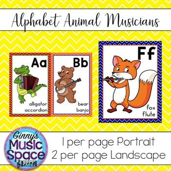 Alphabet Posters Animal Musicians Theme
