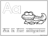 Alphabet Animal Phonics Color and Trace Worksheets. Presch