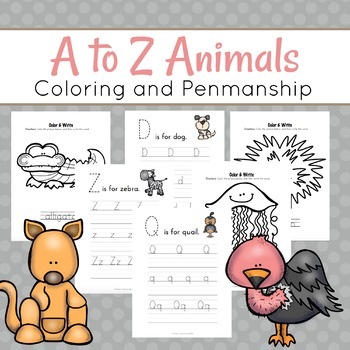 Alphabet Animal Writing and Coloring Pages