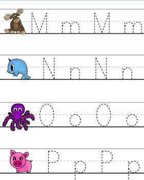 Alphabet Animals (worksheets, write & wipe letters & more) ABC's