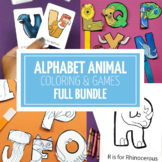Alphabet Animals Cards, Coloring, Crafts, and Puppets
