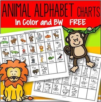 photograph regarding Free Printable Abc Chart named Animal Alphabet Chart inside Coloration and B-W Absolutely free