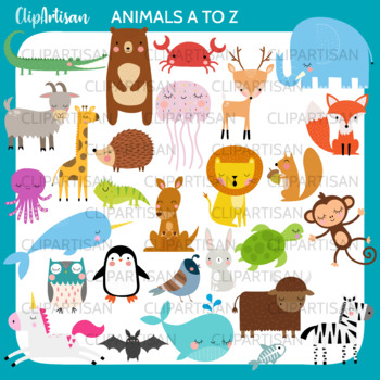 Alphabet Animals Clip Art, Animals from A to Z