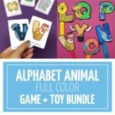 Alphabet Animals Full Color Game + Toy Bundle