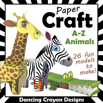 Alphabet Animals Paper Craft Model BUNDLE | 26 Zoo Animal Crafts