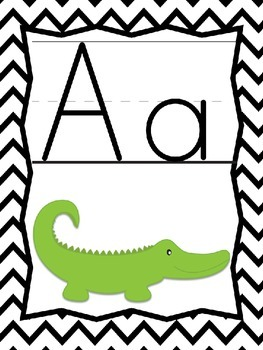 Alphabet Posters and More: Black and White Chevron