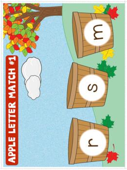 Alphabet - Apple Themed File Folder Alphabet Match