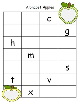 Alphabet Apples Letter Sequencing for Students with Special Needs/Early Learners