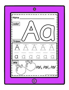 Alphabet Apptivity {Color, Trace, Say}
