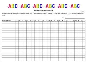 Alphabet Assessment Matrix