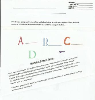 Alphabet Assessment Review Sheet