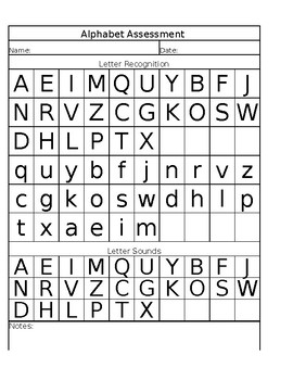 Alphabet Assessment Sheet