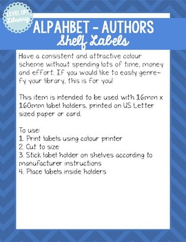 Alphabetical by Author - Shelf Labels - 16mm - US Letter Paper
