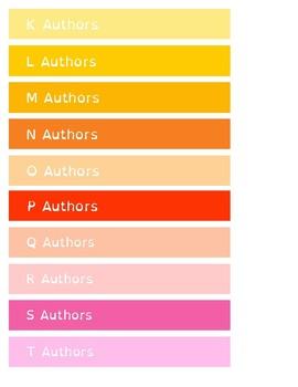 Alphabetical by Author - Shelf Labels - 22mm - US Letter Paper