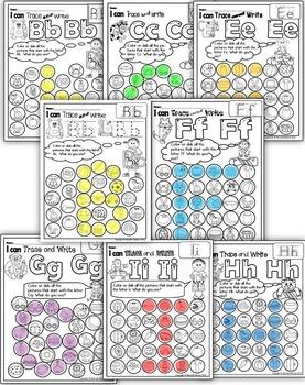 Alphabet BEGINNING SOUNDS Worksheets BUNDLE-Color or Dab (HIDDEN LETTERS)