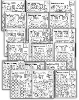 Alphabet Beginning Sounds Worksheets Bundle Color Or Dab