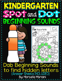 Alphabet BEGINNING SOUNDS Worksheets-Color or Dab TO FIND HIDDEN LETTERS-KG