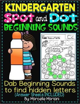 Alphabet BEGINNING SOUNDS Worksheets-Color or Dab TO FIND HIDDEN LETTERS-KG