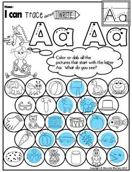 Alphabet BEGINNING SOUNDS Worksheets-Color or Dab to find HIDDEN LETTERS-PRE-KG