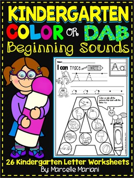 Alphabet BEGINNING SOUNDS Worksheets-Color or Dab -KINDERGARTEN