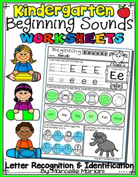 Alphabet BEGINNING SOUNDS WORKSHEETS- Letter Recognition & Identification