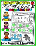 Alphabet BEGINNING SOUNDS WORKSHEETS- Letter Recognition & Identification
