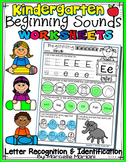 Alphabet BEGINNING SOUNDS WORKSHEETS- Letter Recognition &