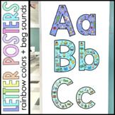 Alphabet BEGINNING SOUNDS Wall Posters Rainbow Wall Class Decor