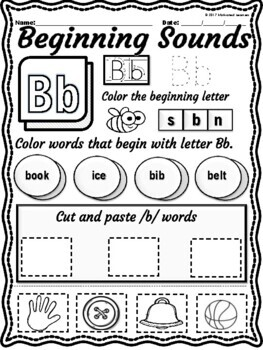 Alphabet BEGINNING Sounds Worksheets / Letter Recognition  and Identification