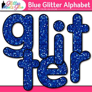 Blue Glitter Alphabet Clip Art {Great for Classroom Decor & Resources}